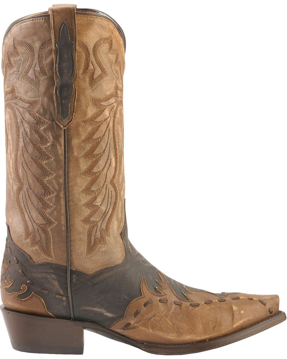 Dan Post Men's Avitar Overlay Snip Toe Western Boots, Chocolate, hi-res