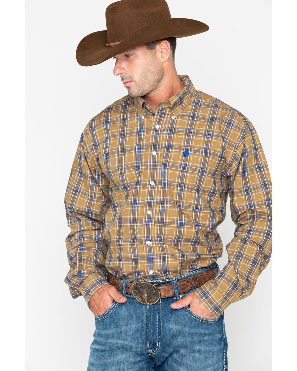 Cinch Men's Tan Long Sleeve Plaid Western Shirt , Tan, hi-res
