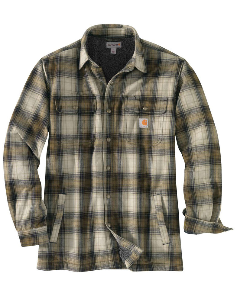 Carhartt Men's Hubbard Flannel Long Sleeve Work Shirt Jacket - Big , Olive, hi-res