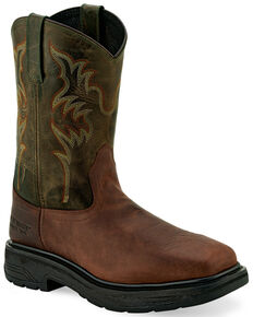 "Old West Men's 11"" Brown Western Work Boots - Steel Toe, Brown, hi-res"