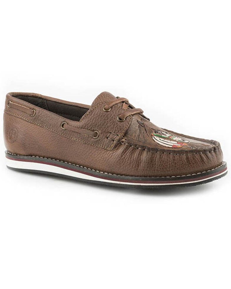 Roper Women's Burnished Brown Leather Moccasin Shoes - Moc Toe, Brown, hi-res