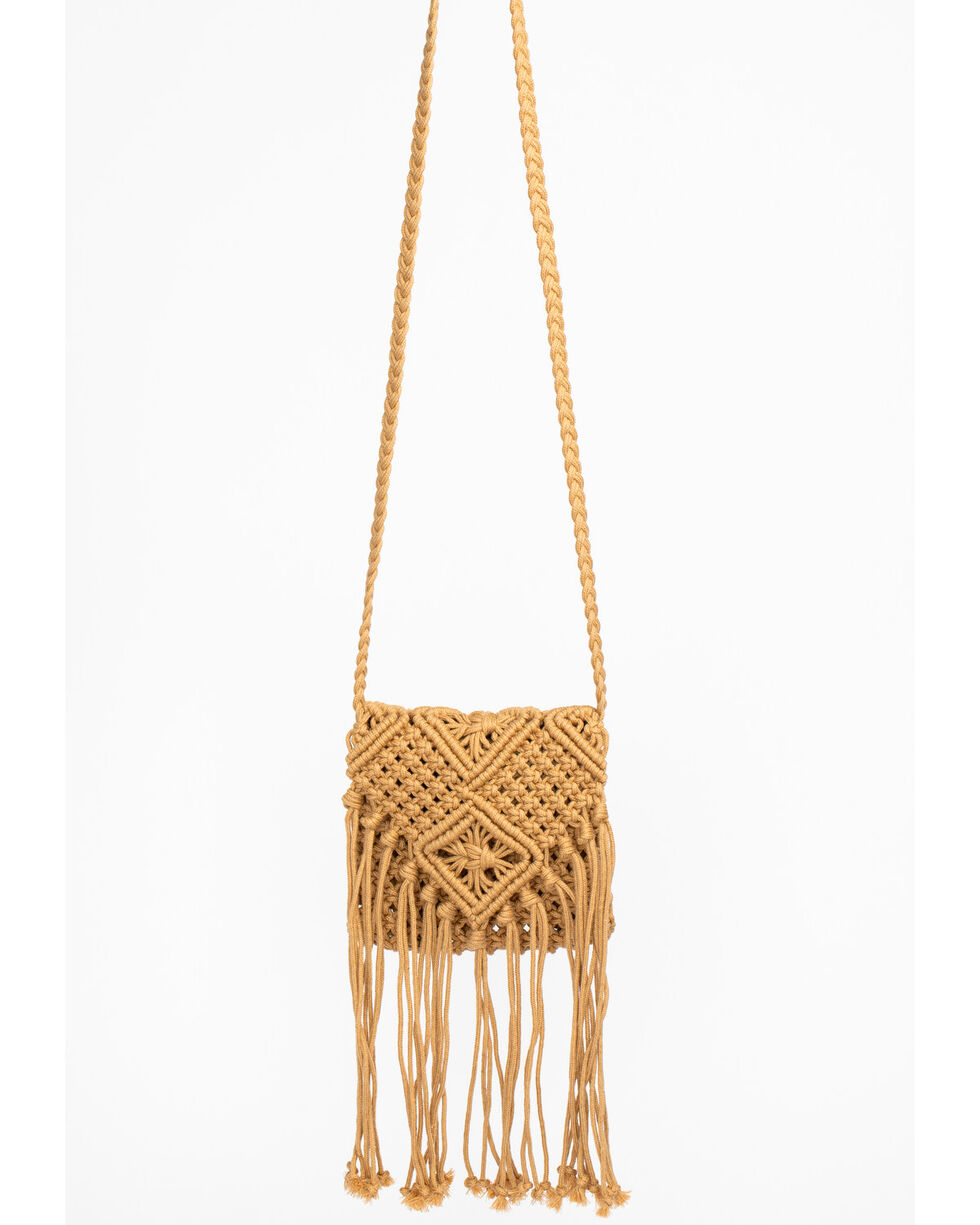 Shyanne Women's Tan Macrame Crossbody, Tan, hi-res