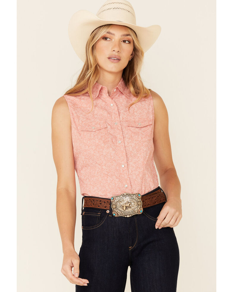 Ely Walker Women's Coral Paisley Print Sleeveless Snap Western Core Shirt , Coral, hi-res