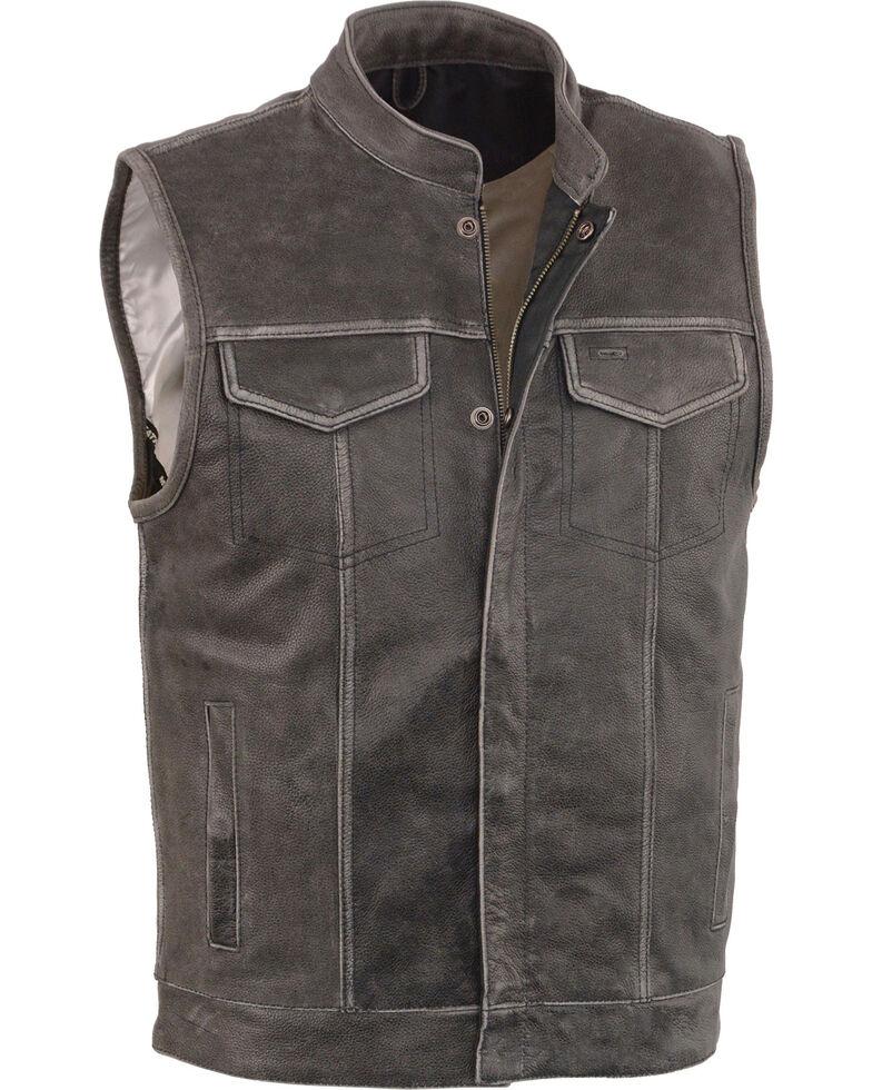 Milwaukee Leather Men's Grey Open Neck Club Style Concealed Vest - 3X, Grey, hi-res
