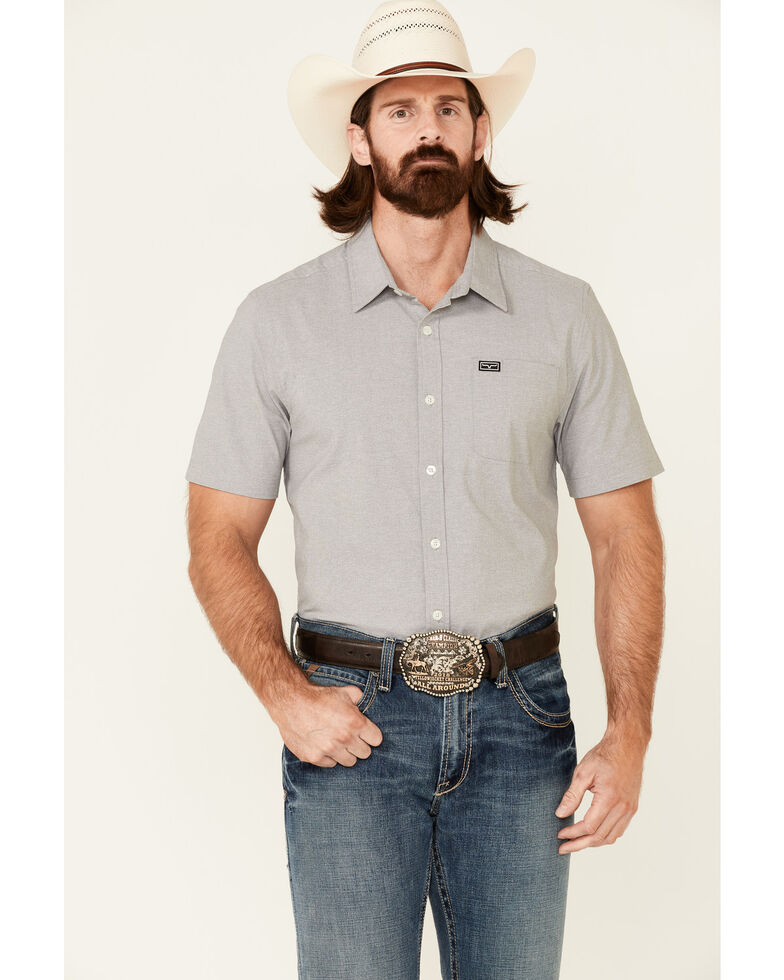 Kimes Ranch Men's Solid Grey Linville Coolmax Short Sleeve Button-Down Western Shirt, Heather Grey, hi-res