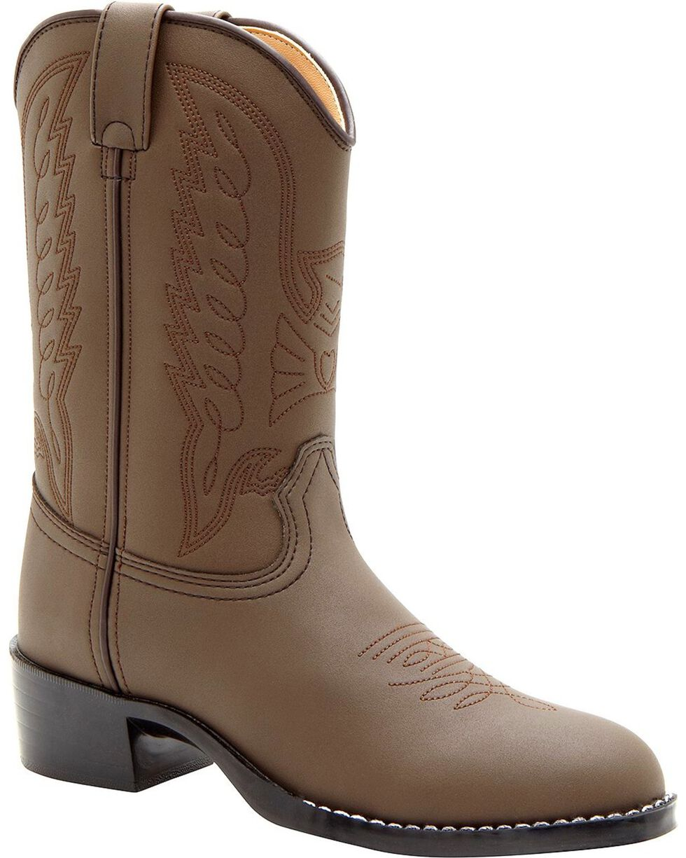 Durango Kid's Distressed Leather Western Boots, Brown, hi-res
