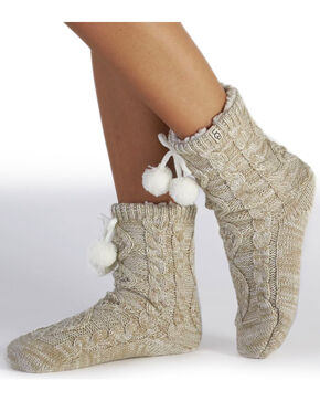 UGG Women's Cream Pom-Pom Crew Socks , Cream, hi-res