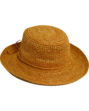 Scala Women's Packable Organic Crocheted Raffia Hat, Tea, hi-res