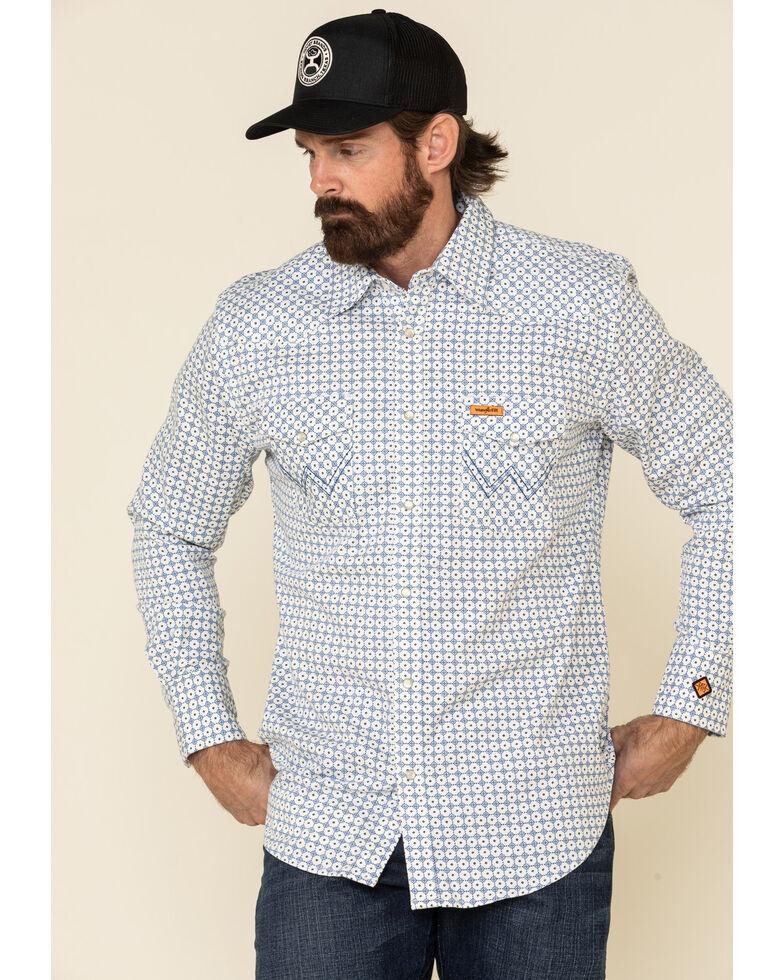 Wrangler FR Men's White Small Geo Print Long Sleeve Work Shirt - Tall , White, hi-res