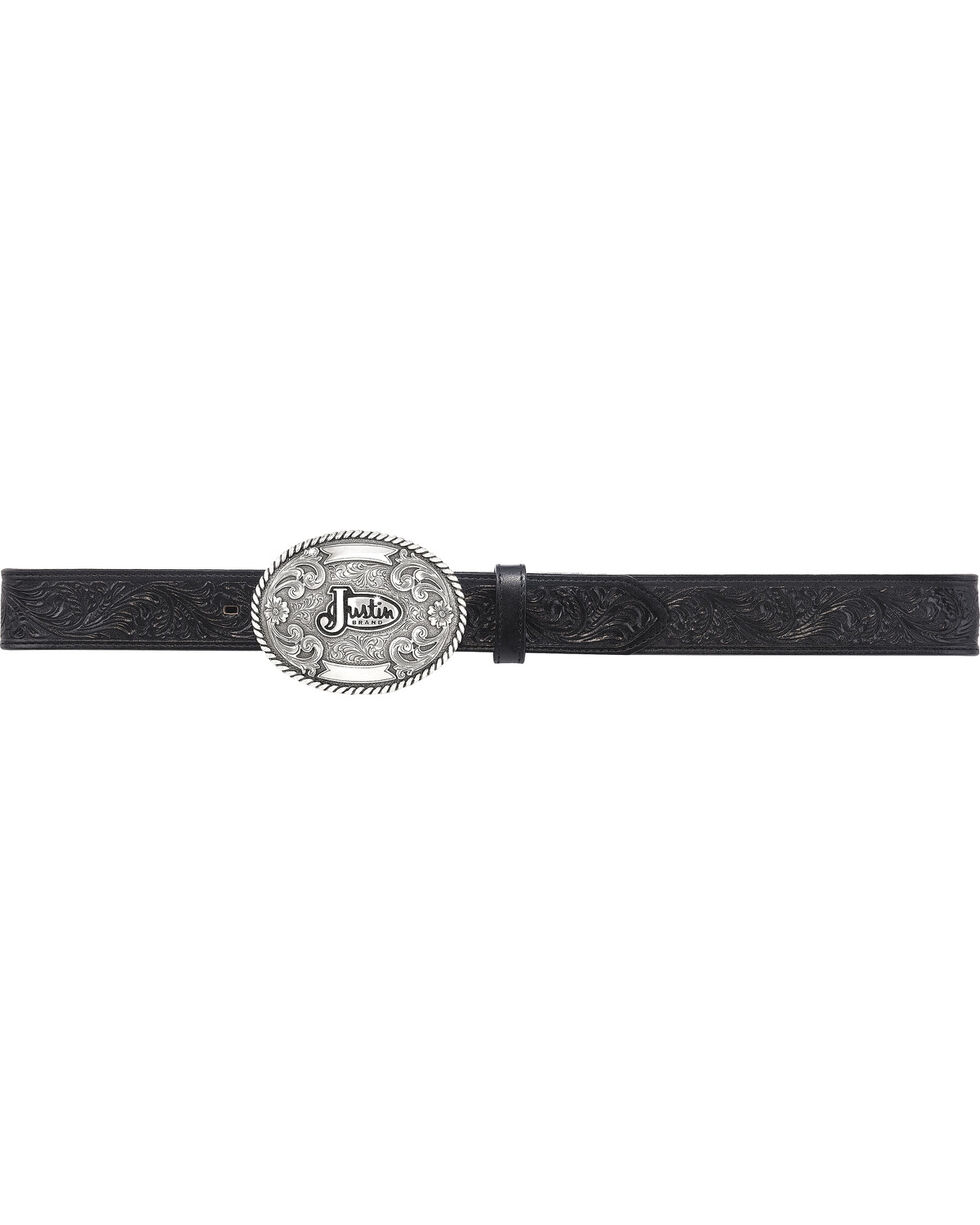 Justin Men's Floral Leather Trophy Belt, No Color, hi-res
