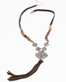 Shyanne Women's Hidden Treasure Filigree Leather Tassel Necklace, Silver, hi-res