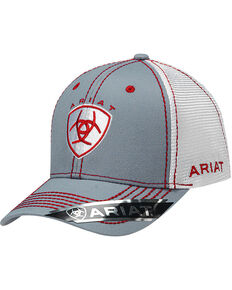Ariat Men's Shield Logo Ball Cap, Grey, hi-res