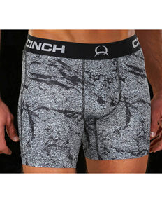 "Cinch Men's Grey Print Athletic 6"" Boxer Briefs, Charcoal Grey, hi-res"