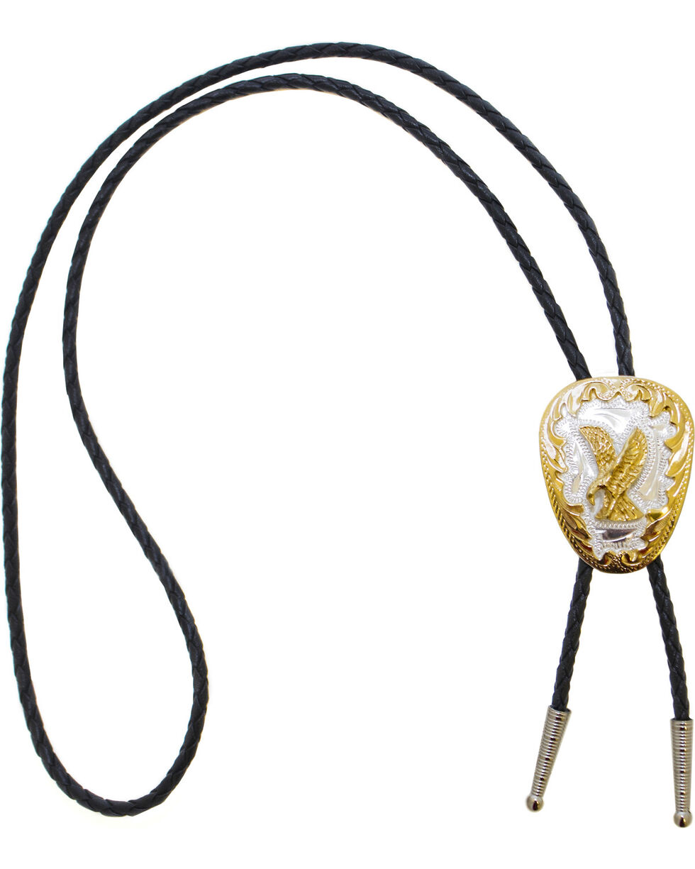 Western Express Men's German Silver Eagle Bolo Tie, Gold, hi-res