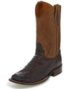 Tony Lama Men's Andrius Exotic Ostrich Western Boots - Wide Square Toe, Chocolate, hi-res