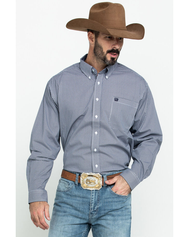 Cinch Men's Multi Small Geo Print Long Sleeve Western Shirt , Multi, hi-res