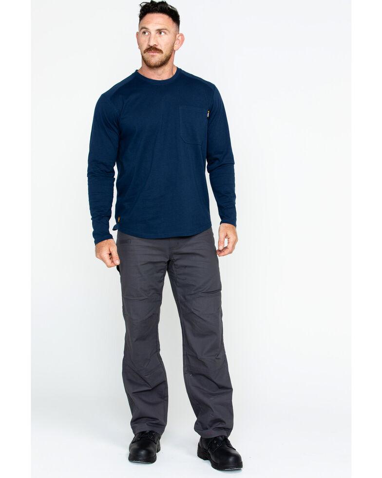 Hawx Men's Solid Pocket Crew Long Sleeve Work T-Shirt - Big & Tall , Navy, hi-res