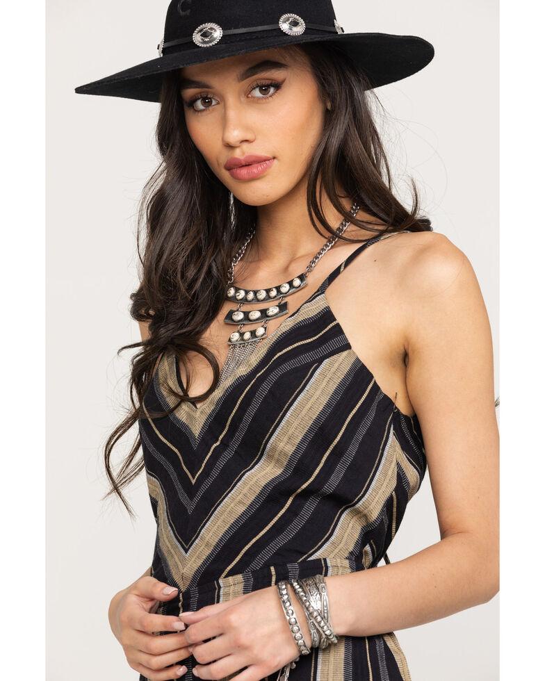 Shyanne Women's Stripe Lace Up Dress, Black/tan, hi-res