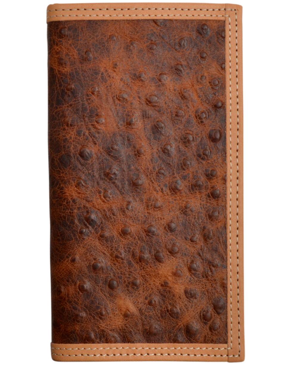 3D Men's Brown Ostrich Print Leather Rodeo Wallet , Brown, hi-res