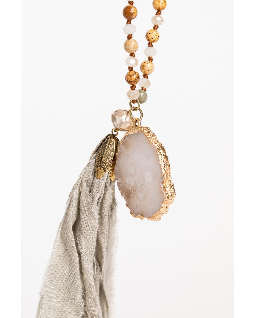 Shyanne Women's Adilene Beaded White Druzy Tassel Necklace, Gold, hi-res