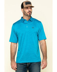 Cinch Men's Arena Flex Blue Solid Short Sleeve Polo Shirt , Blue, hi-res