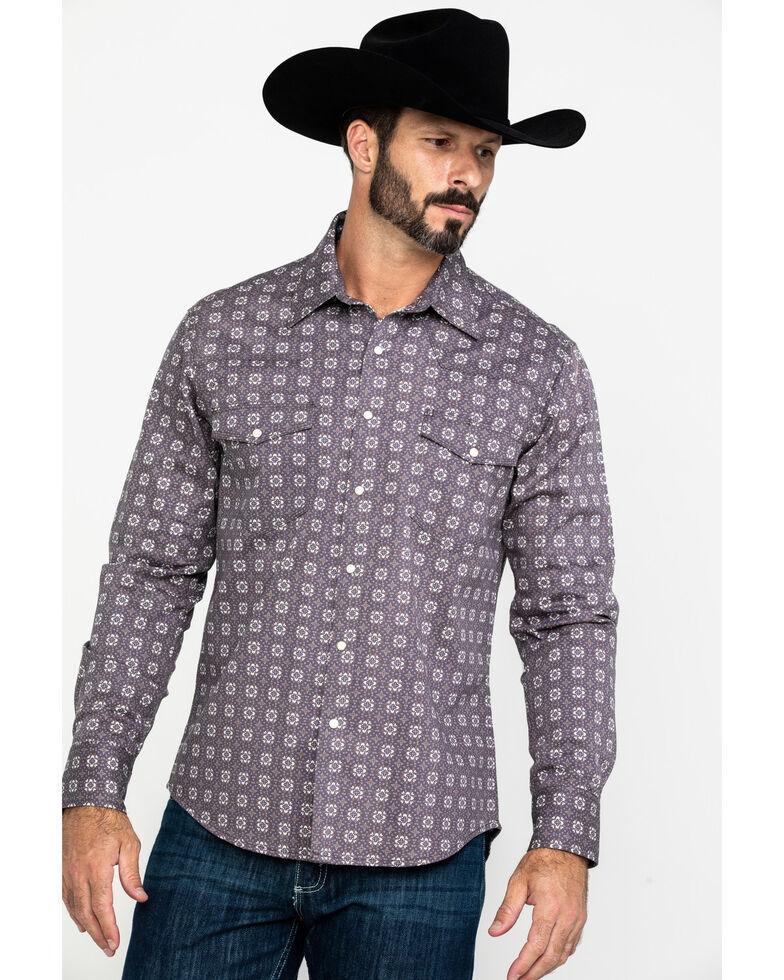Rock & Roll Denim Men's FR Printed Floral Twill Long Sleeve Work Shirt - Big , Charcoal, hi-res