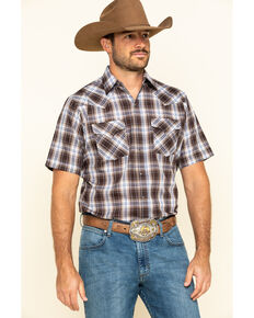 Ely Cattleman Men's Brown Textured Plaid Short Sleeve Western Shirt - Big , Brown, hi-res