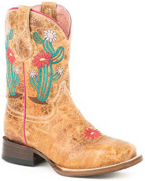 Roper Girls' Cactus Flower Western Boots - Square Toe, Brown, hi-res