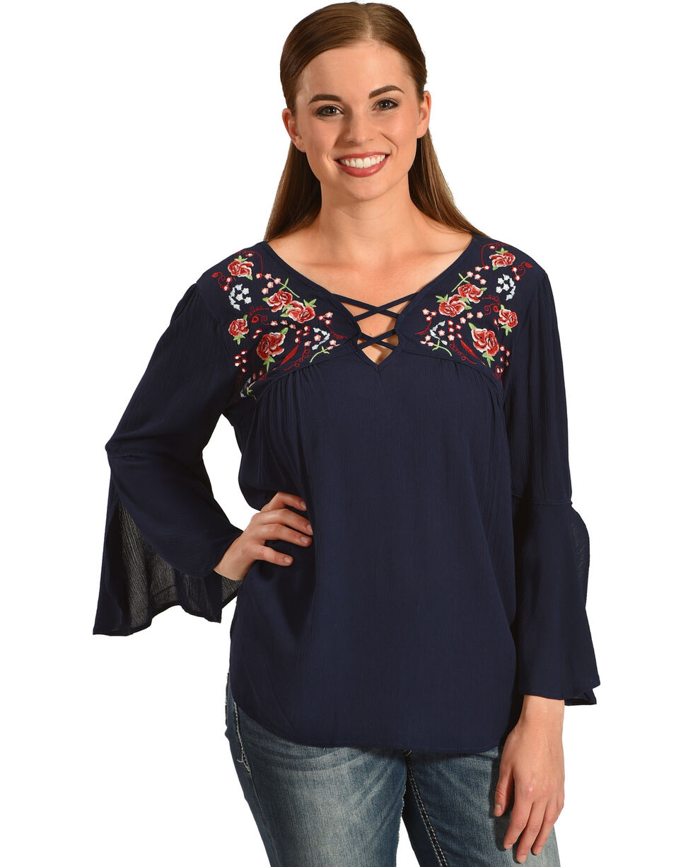 Miss Me Women's Blue 3/4 Sleeve Embroidered Top , Blue, hi-res