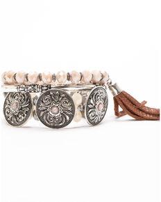 Shyanne Women's Moonlit Three Piece Concho Stretch Bracelet Set , Silver, hi-res