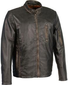 Milwaukee Leather Men's Brown Sheepskin Moto Racer Jacket - Big 4X, Black, hi-res