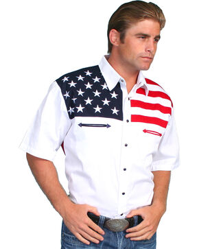 Scully American Flag Colorblock Western Shirt - Big & Tall, White, hi-res