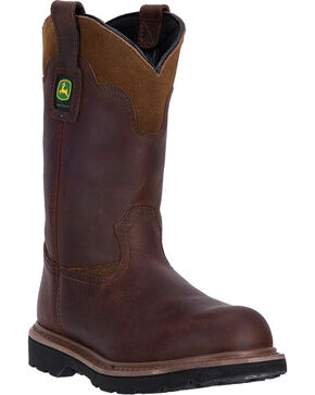 "John Deere Men's 11"" Pull-On All Around Steel Toe Work Boots, Brown, hi-res"