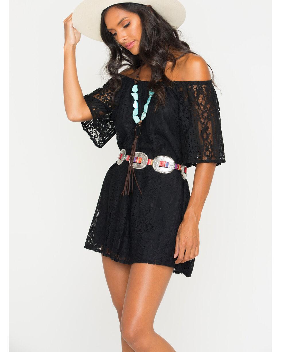 Glam Women's Mojave Off The Shoulder Dress , Black, hi-res