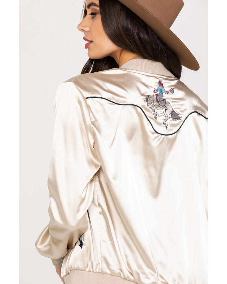 Roper Women's Satin Bucking Bronco Bomber Jacket , White, hi-res