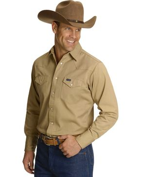 Wrangler Men's Cowboy Cut Firm Finish Long Sleeve Work Shirt, Khaki, hi-res