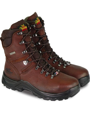 "Thorogood Men's 8"" Omni Waterproof Work Boots - Steel Toe, Brown, hi-res"