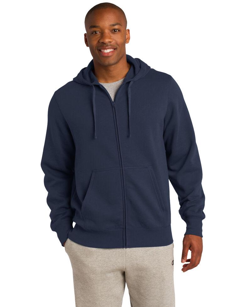 Sport Tek Men's Navy 2X Full-Zip Hooded Sweatshirt - Big, Navy, hi-res