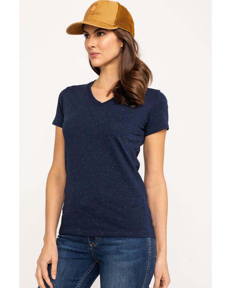 Carhartt Women's Navy Lockhart V-Neck Short Sleeve T-Shirt, Navy, hi-res