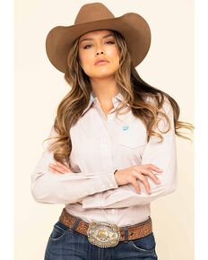 Cinch Women's Pink Stripe Long Sleeve Western Shirt, Pink, hi-res