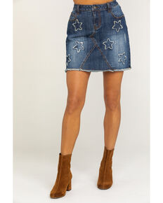 Stetson Women's Star Denim Skirt, Blue, hi-res