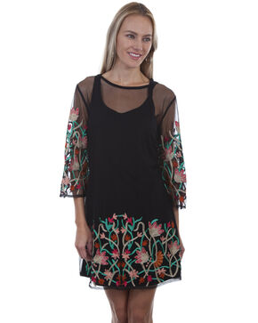 Honey Creek by Scully Women's Mesh Embroidered Dress, Black, hi-res