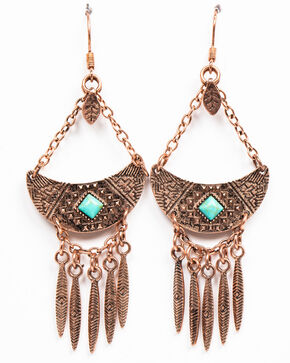 Shyanne Women's Wanderlust Aztec Mini Feather Fringe Earrings, Tan/copper, hi-res