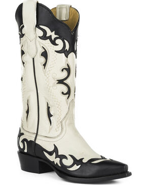 Stetson Women's Piper Black Wingtip Collar Underlays Western Boots - Snip Toe, Black, hi-res