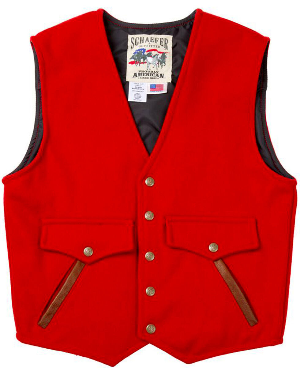 Schaefer Outfitter Men's Red Stockman Melton Wool Vest - 2XL, Red, hi-res