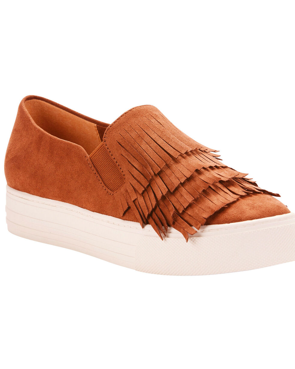 Ariat Women's Unbridled Bliss Cognac Suede Fringe Shoes - Round Toe, Cognac, hi-res