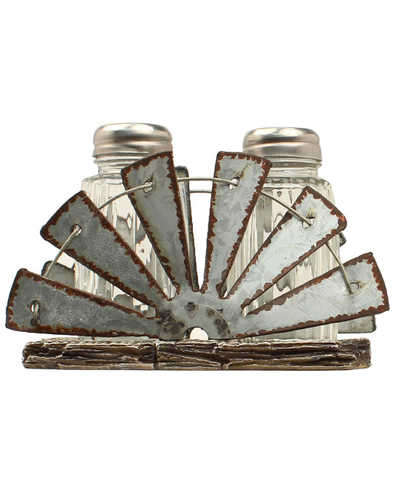 M&F Western Salt & Pepper Mill Fan Holder Shaker Set - 3 Piece, Silver, hi-res