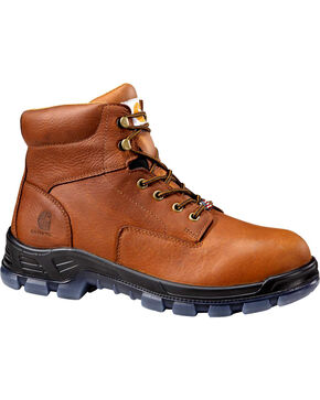 "Carhartt Men's 6"" Brown Waterproof EH Work Boots - Comp Toe, Tan, hi-res"