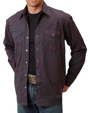 Roper Men's Western Long Sleeve Snap Shirt, Navy, hi-res