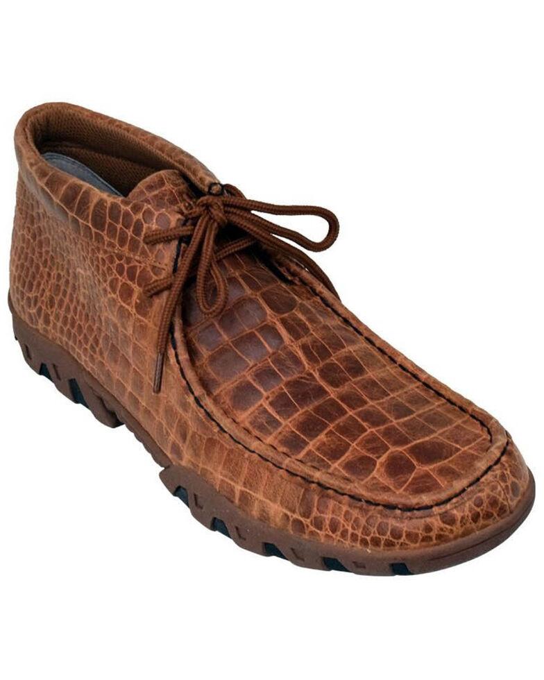 Ferrini Men's Honey Genuine Crocodile Print Shoes - Moc Toe, Honey, hi-res